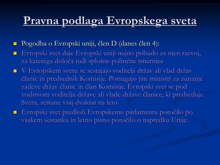 Pravna podlaga Evropskega sveta