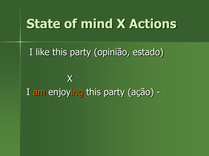 State of mind X Actions