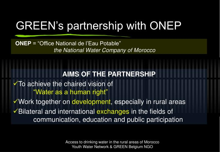 GREEN's partnership with ONEP