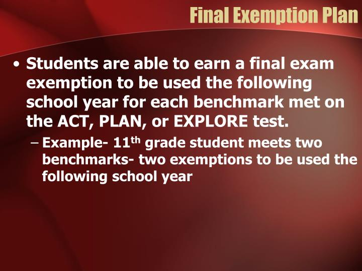 Final Exemption Plan