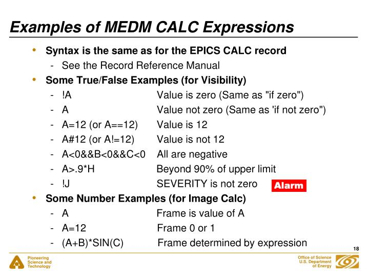 Examples of MEDM CALC Expressions