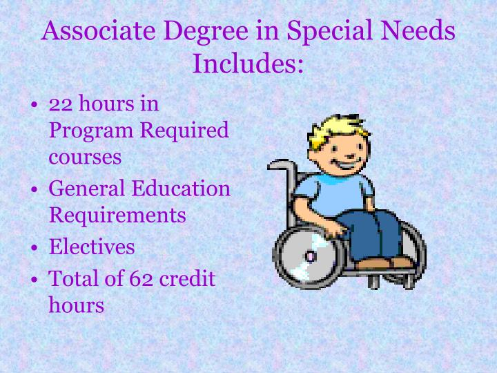 Associate Degree in Special Needs Includes: