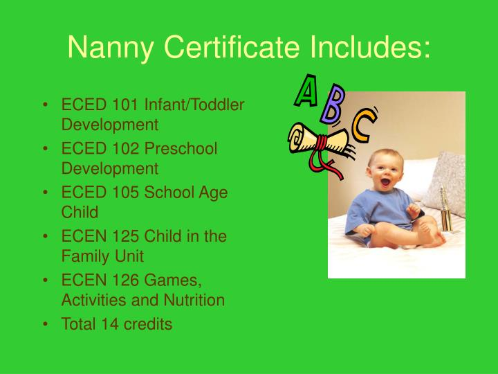 Nanny Certificate Includes: