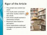rigor of the article