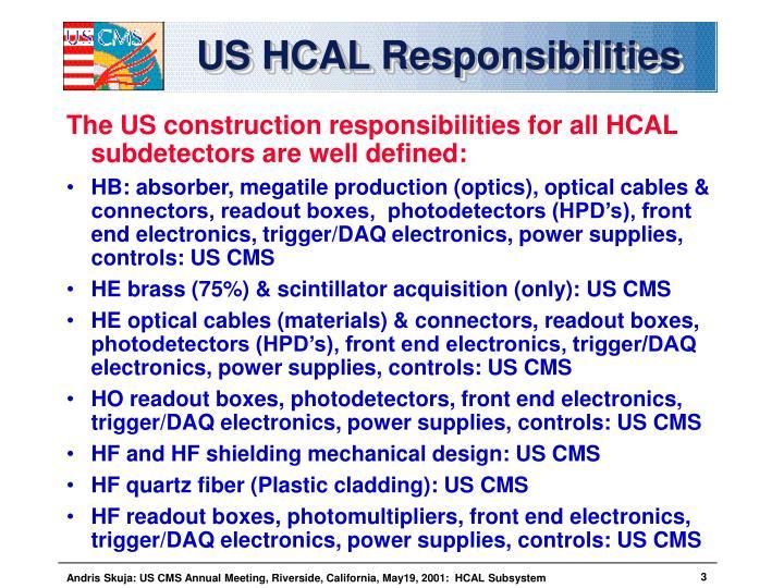 US HCAL Responsibilities
