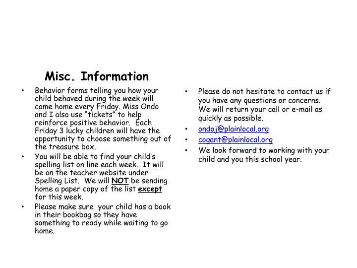 Misc. Information