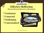 effective reflection based on research interviews with students