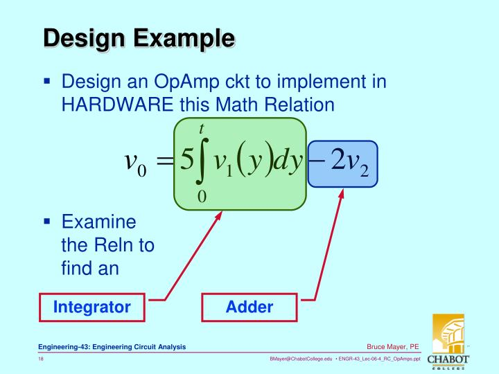 Design an OpAmp ckt to implement in HARDWARE this Math Relation