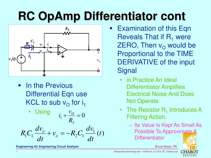 RC OpAmp Differentiator cont