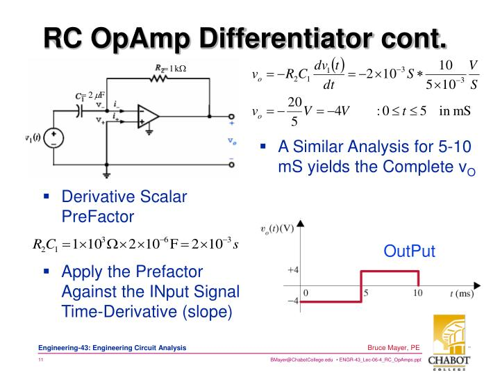 RC OpAmp Differentiator cont.