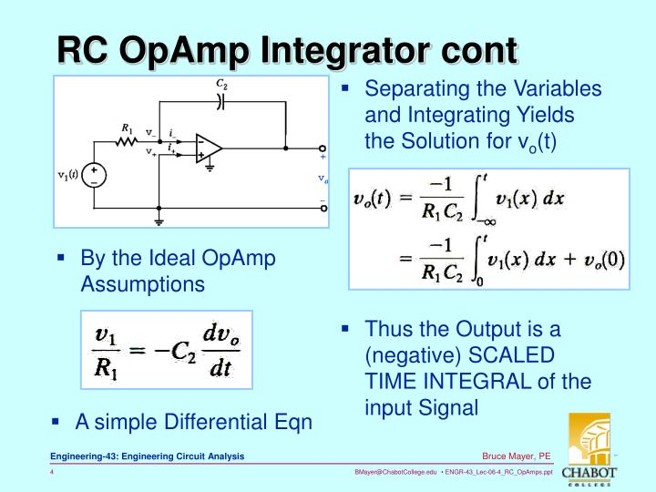 RC OpAmp Integrator cont