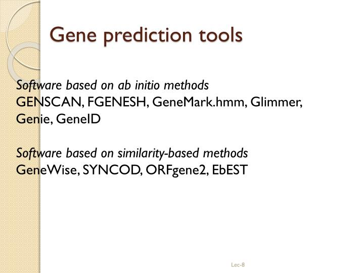 Gene prediction tools