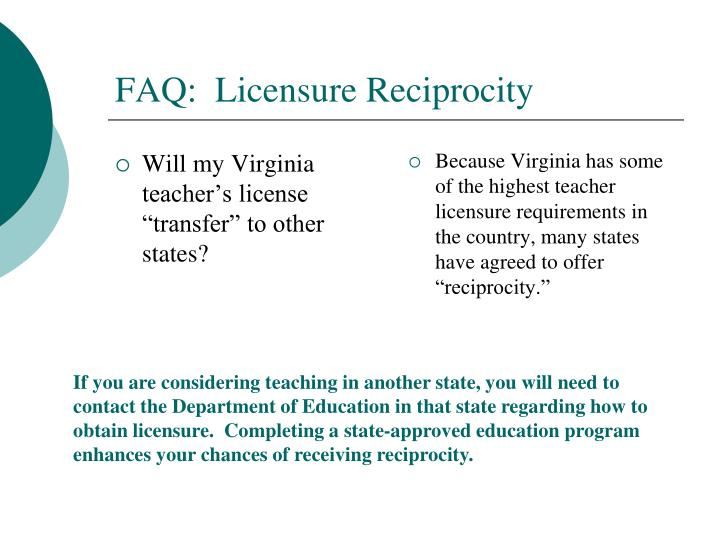 "Will my Virginia teacher's license ""transfer"" to other states?"