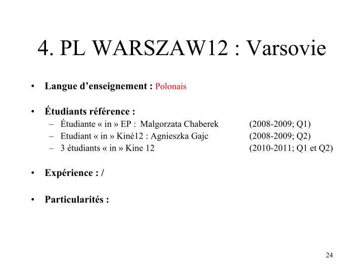 4. PL WARSZAW12 : Varsovie