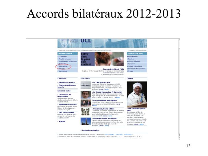 Accords bilatéraux 2012-2013