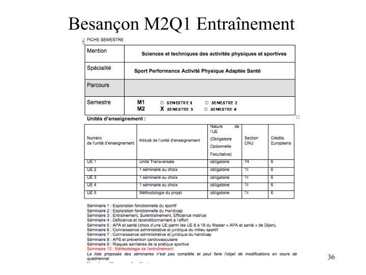 Besançon M2Q1 Entraînement