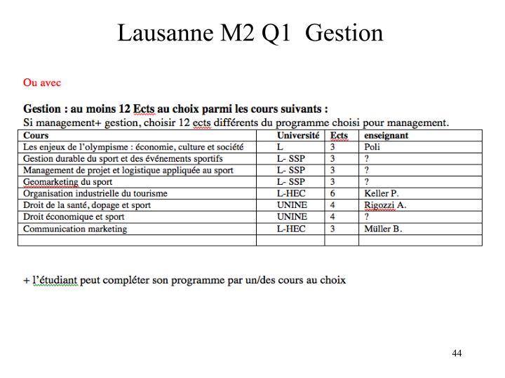 Lausanne M2 Q1  Gestion