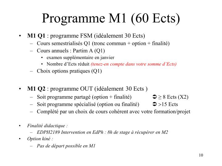 Programme M1 (60 Ects)