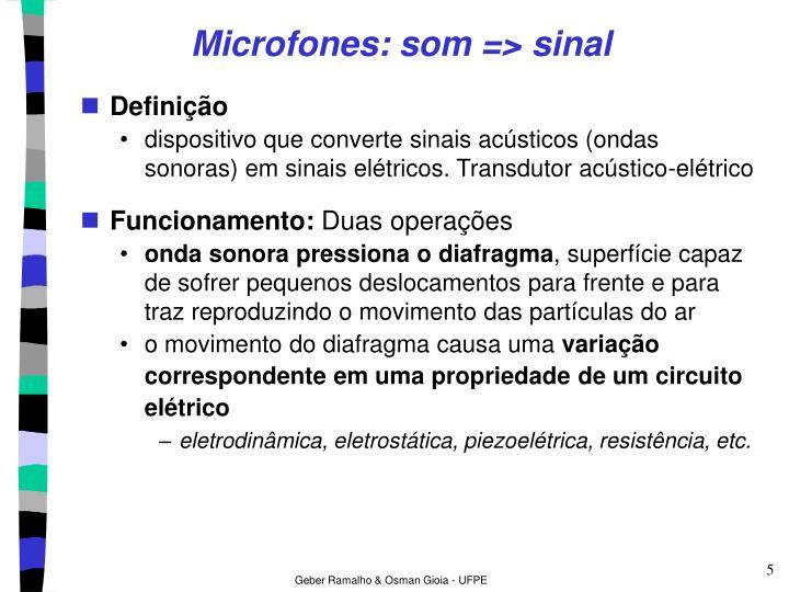 Microfones: som => sinal