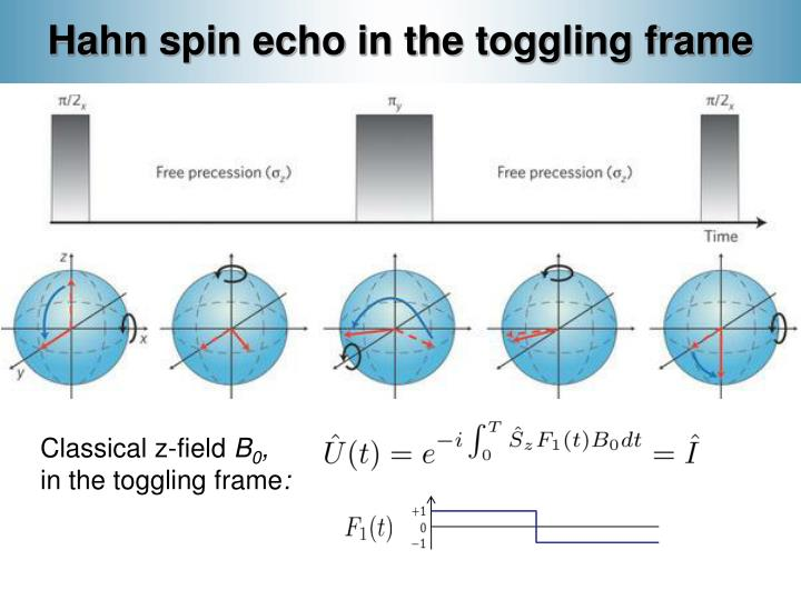 Hahn spin echo in the toggling frame