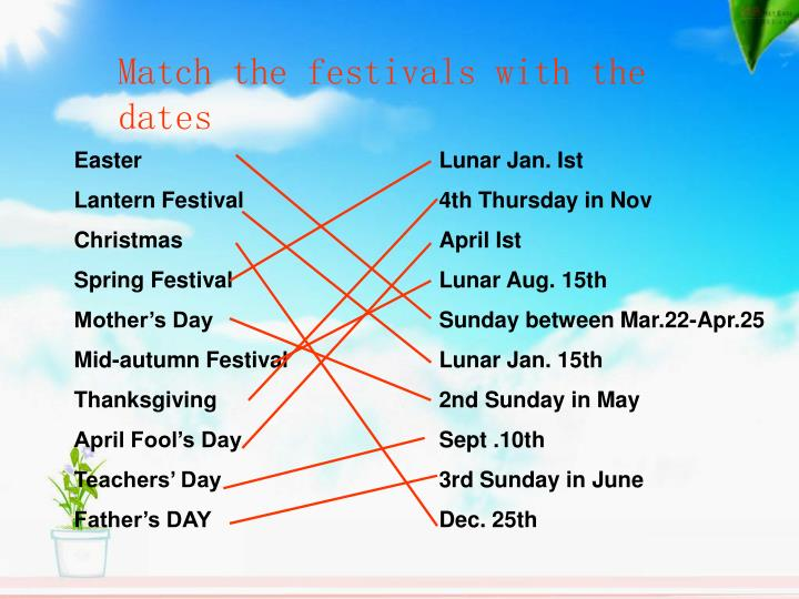 Match the festivals with the dates