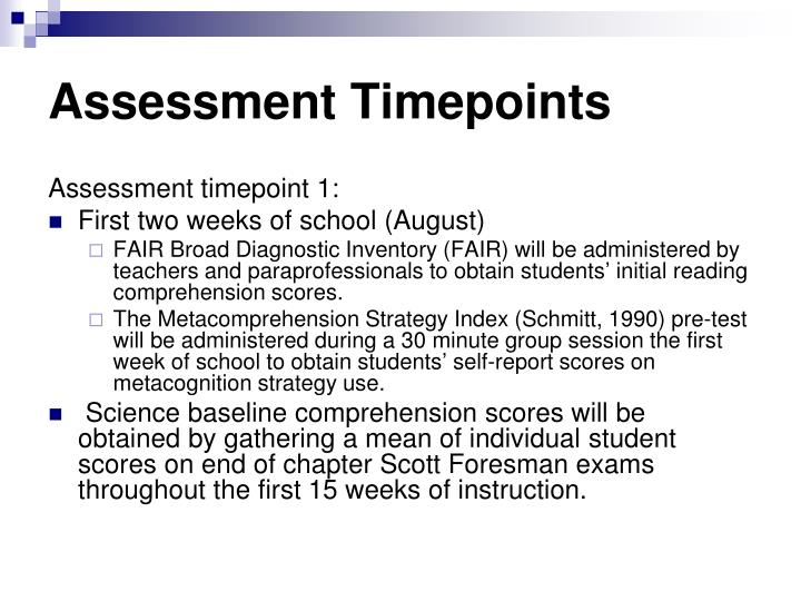 Assessment Timepoints