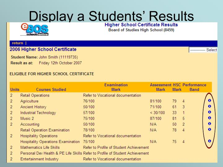 Display a Students' Results