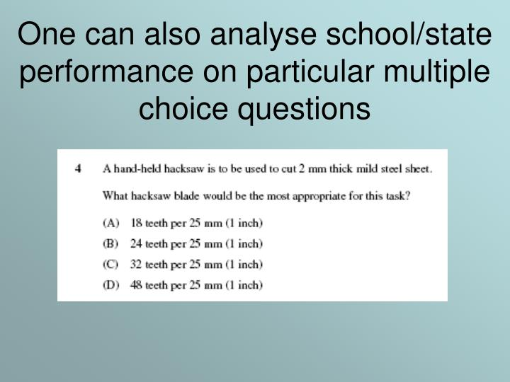 One can also analyse school/state performance on particular multiple choice questions