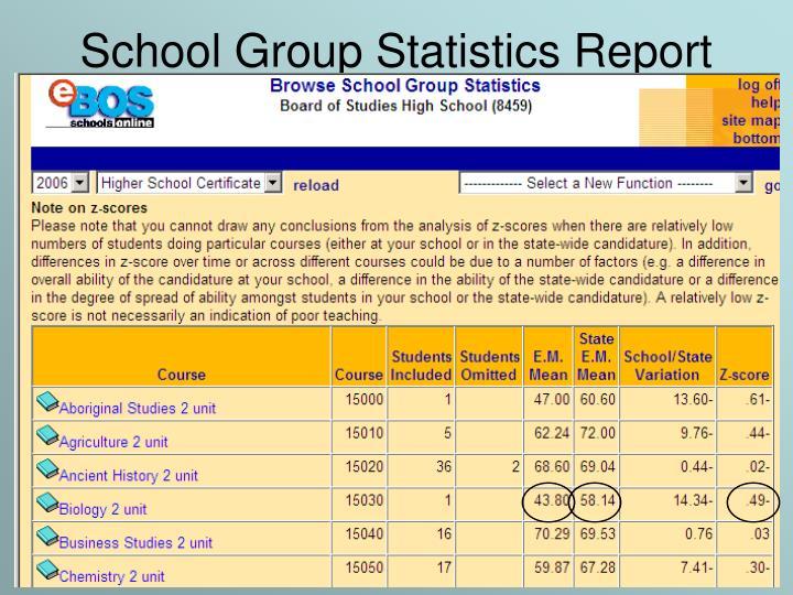 School Group Statistics Report