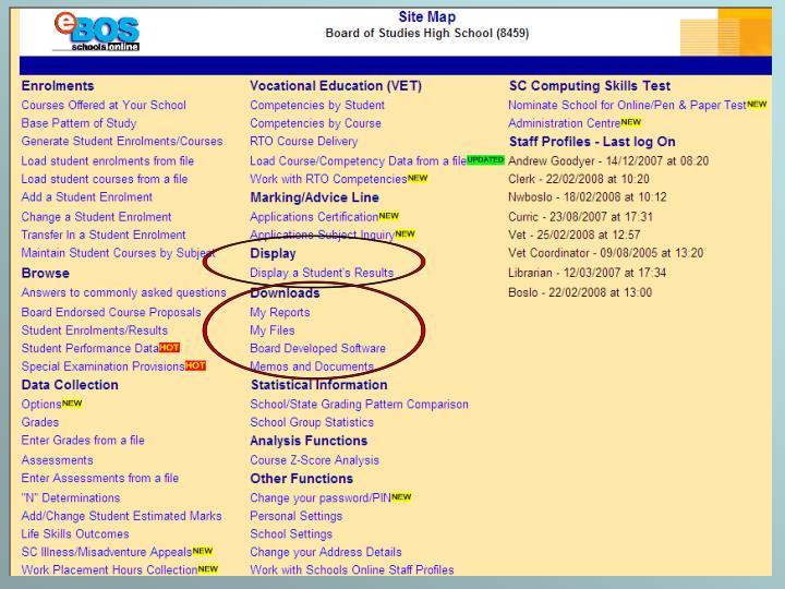 Schools Online Site Map