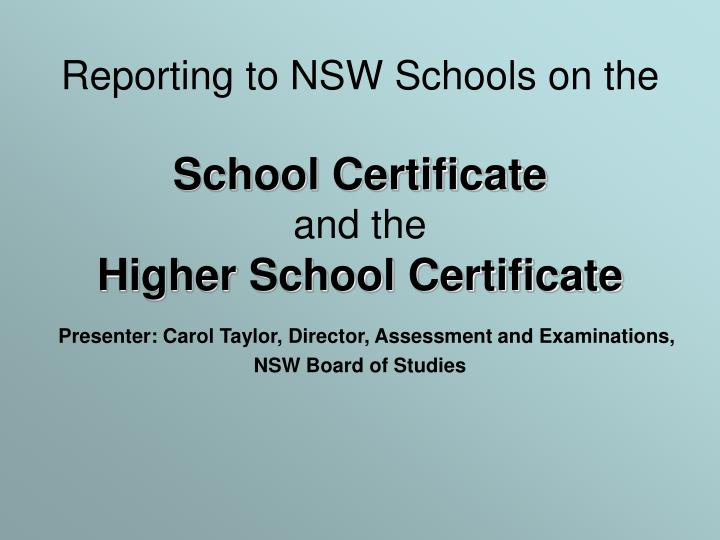 Reporting to NSW Schools on the