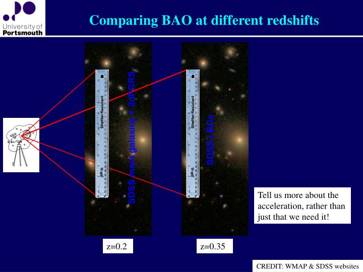 Comparing BAO at different redshifts