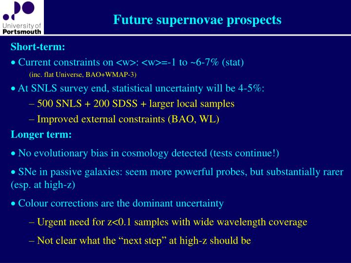 Future supernovae prospects