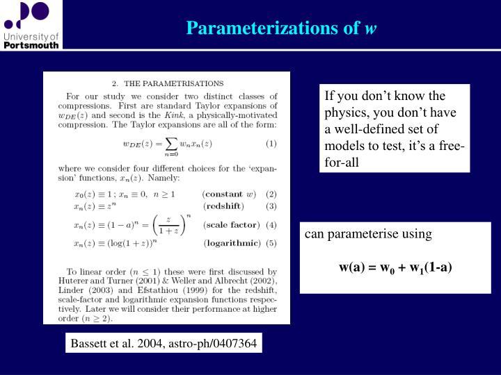 Parameterizations of