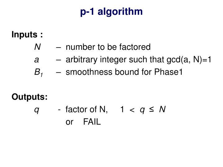 p-1 algorithm