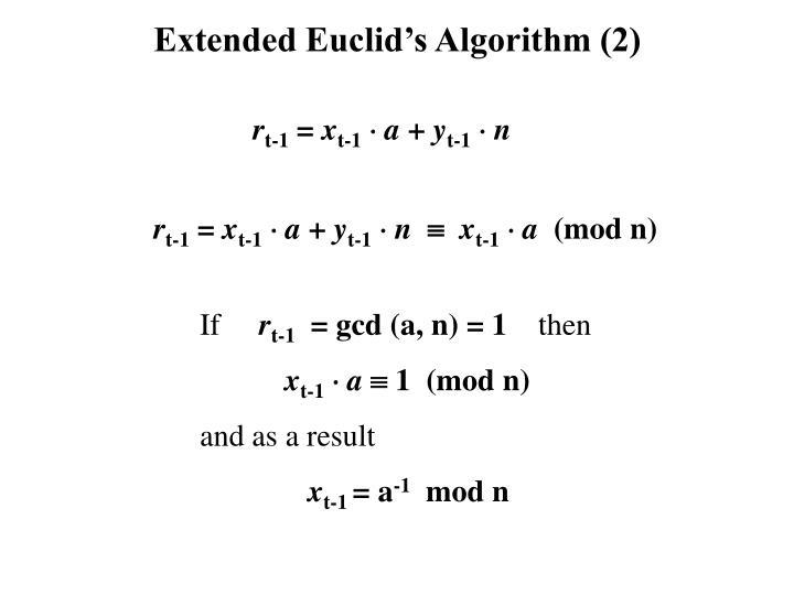 Extended Euclid's Algorithm (2)