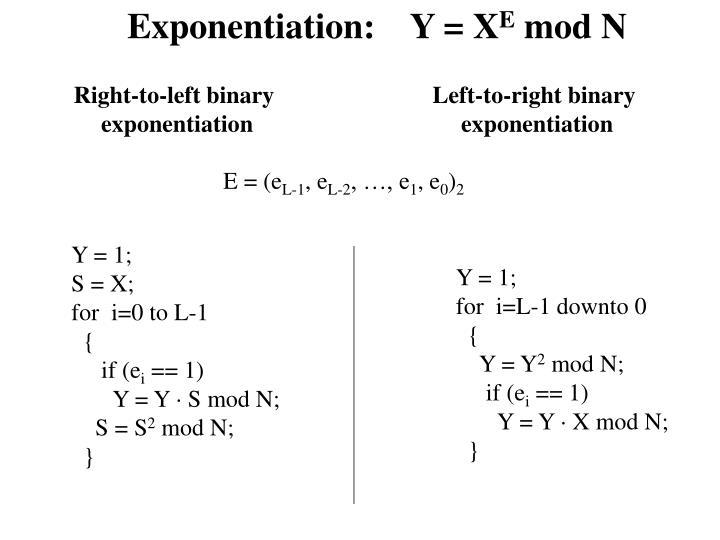 Exponentiation:    Y = X