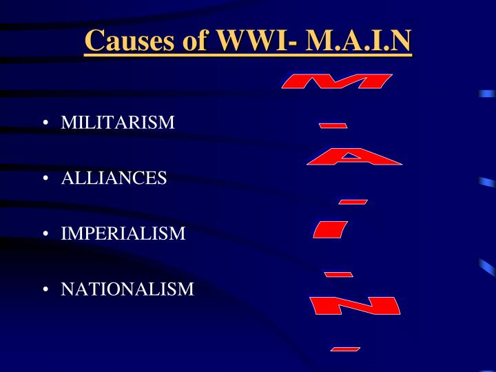 ww1 m a i n causes Imperialism an unequal human and territorial relationship, usually in the form of an empire, based on ideas of superiority and practices of dominance, and involving.