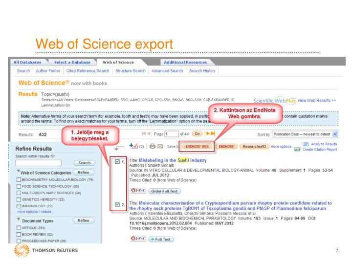 Web of Science export
