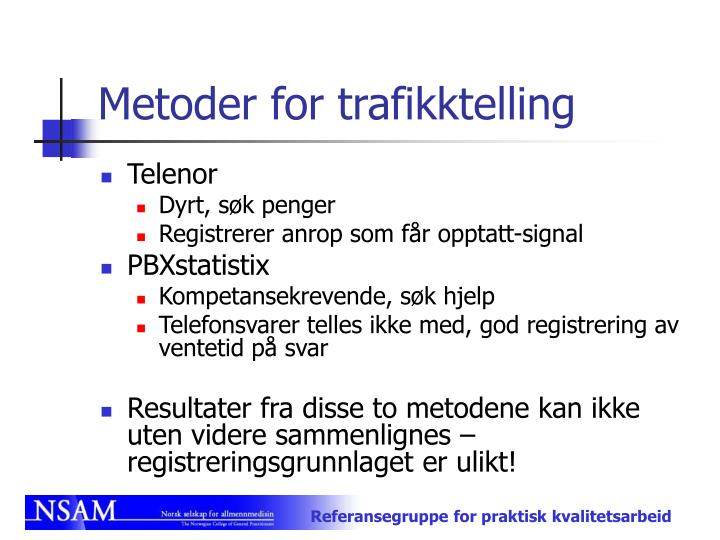 Metoder for trafikktelling