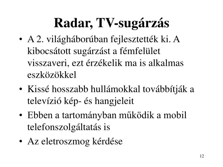 Radar, TV-sugárzás