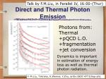 direct and thermal photon emission