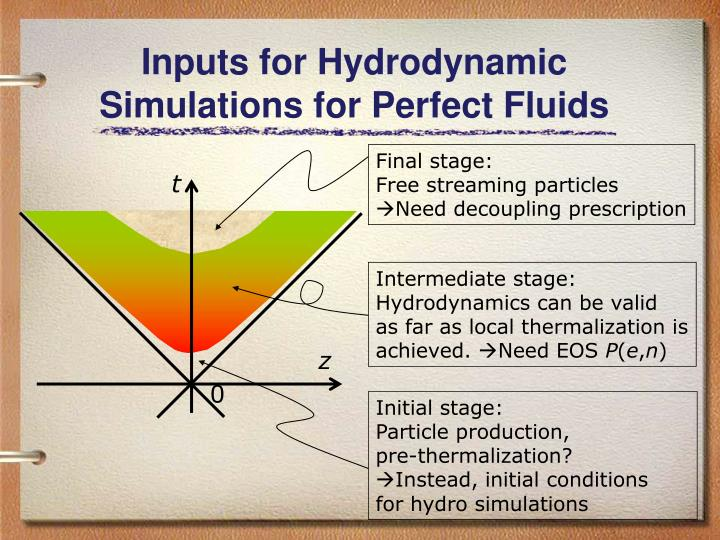 Inputs for Hydrodynamic Simulations for Perfect Fluids