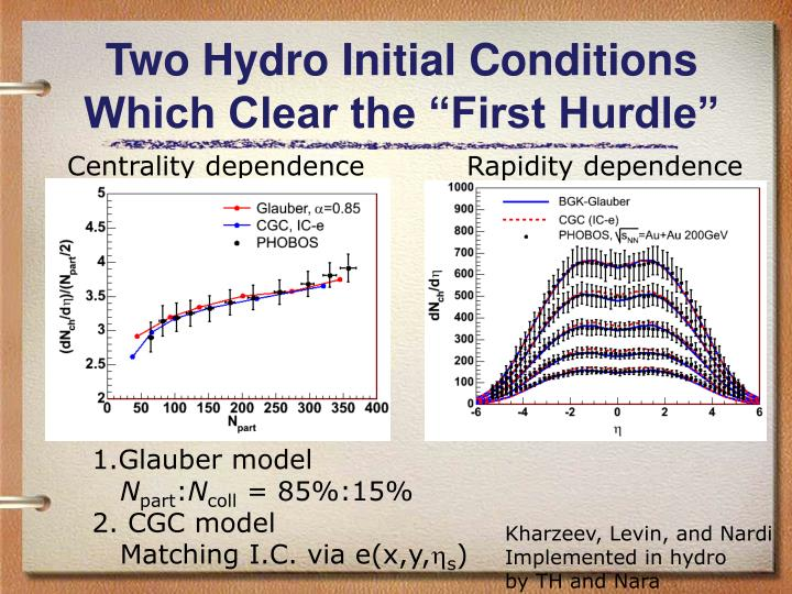 "Two Hydro Initial Conditions Which Clear the ""First Hurdle"""