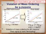 violation of mass ordering for f mesons
