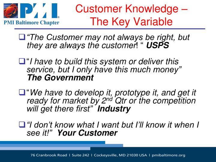 Customer Knowledge –