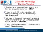 customer knowledge the key variable