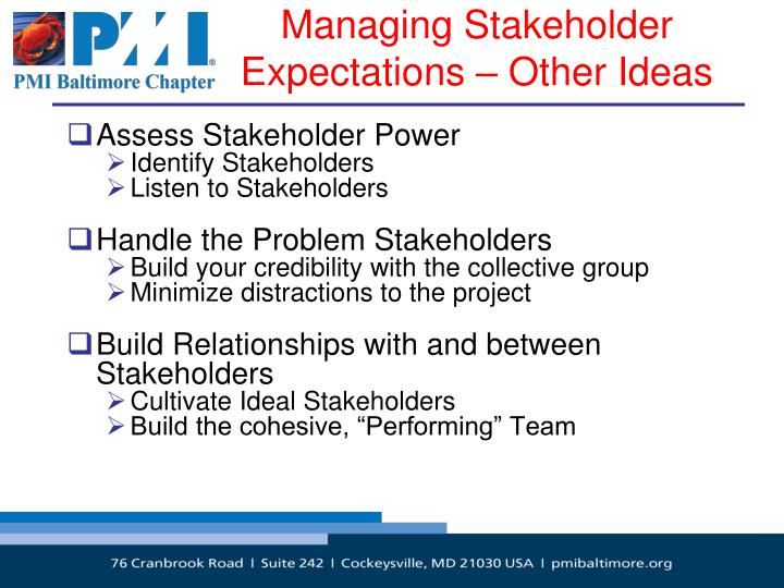 Managing Stakeholder Expectations – Other Ideas