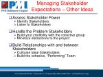 managing stakeholder expectations other ideas