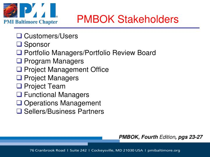 PMBOK Stakeholders